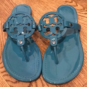 Tory Burch Miller Sandals Teal size 10.5 M